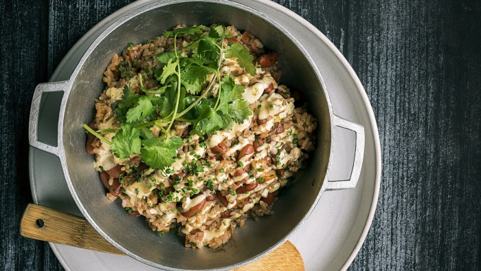 Arroz mamposteao (Puerto Rican style red beans and rice)