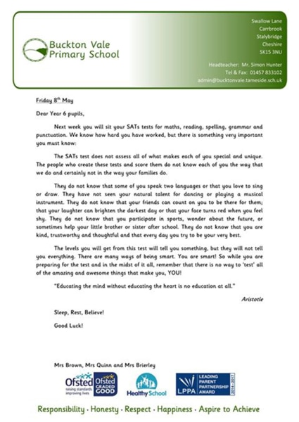 Letter To Parents About Fsa Test Results