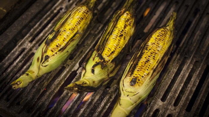 Grilled corn on the grill