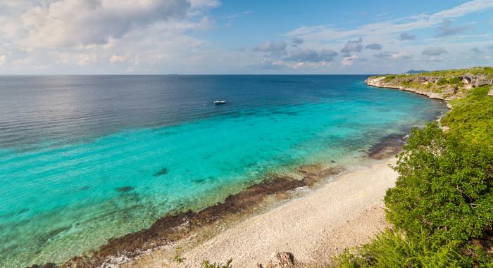 Landmark location on Bonaire for snorkeling, Dutch Caribbean Island.