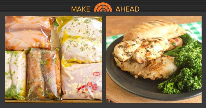 Make-Ahead Chicken UPLOAD A RECIPE. Chicken is a great ingredient for a make-ahead dinner recipe. low-fat chicken is fast to cook and healthy. Many recipes can be prepared days or weeks ahead of time and frozen for quick reheating. For best results, freeze in individual portions.