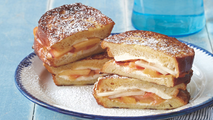 Nectarine and Cream Cheese French Toast Sandwiches