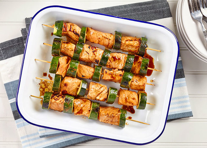 Grilled Salmon And Zucchini Skewers Watermelon Drink