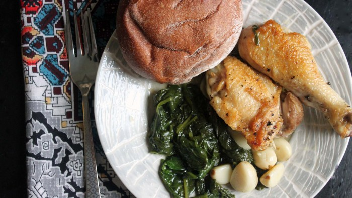 Braised Chicken with Spinach and Garlic