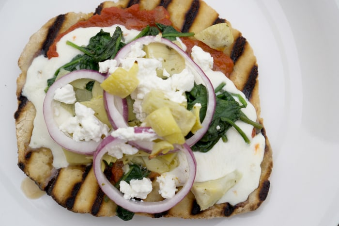 Grilled Pizza with Spinach, Artichoke, Red Onion and Feta Cheese