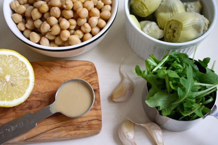 Arugula-Artichoke Hummus Ingredients