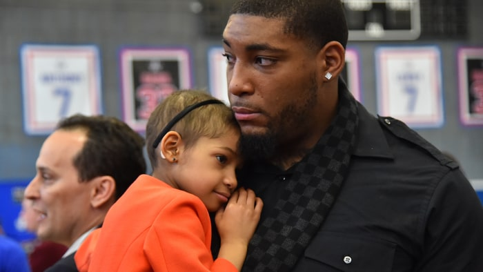Devon Still of the Cincinnati Bengals and his daughter Leah Sari