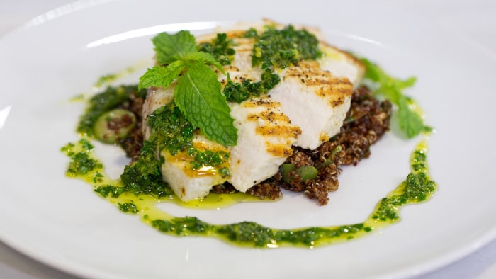 Ryan Despersio's recipe for grilled swordfish steaks with Mediterranean quinoa salad and citrus gremolata
