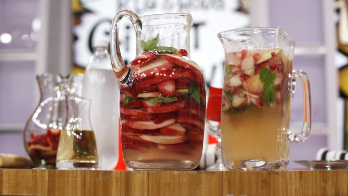 Low-Calorie Sparkling White Peach, Strawberry & Basil Sangria - TODAY ...