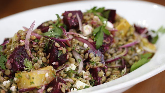 Beet risotto, roasted beet, feta and lentil salad, and dark chocolate ...