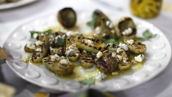 Marinated and Grilled Baby Artichokes with Blue Cheese Vinaigrette