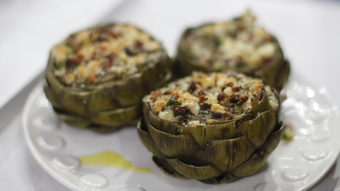 Stuffed Artichokes with Chunky Bacon and Parmesan