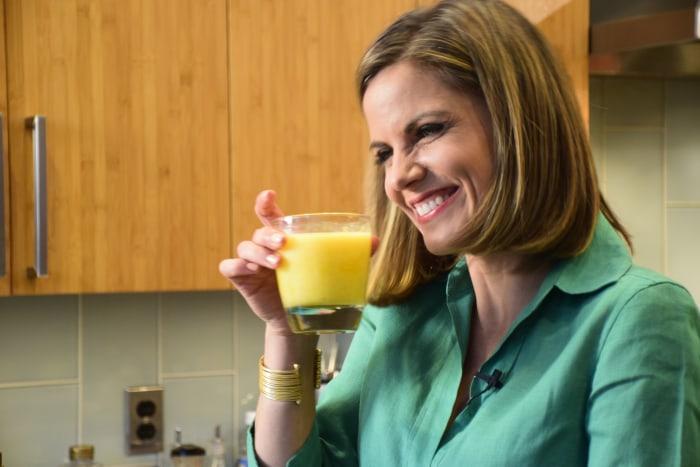 Natalie Morales drinks a mango caipirinha