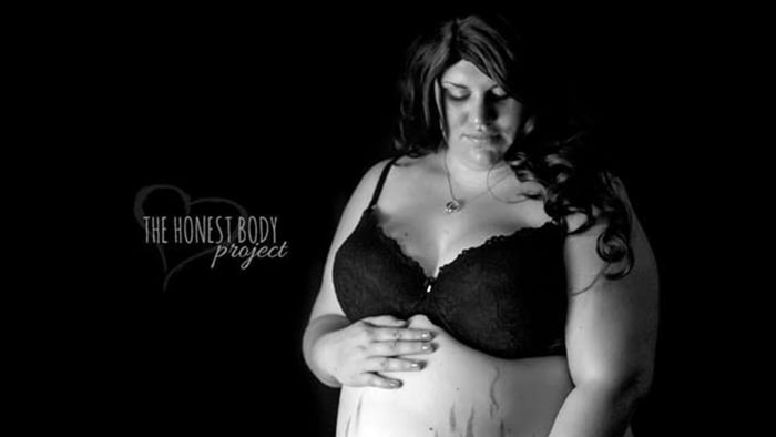 Brittany Dykstra, pregnant woman who was body shamed. The Honest Body Project