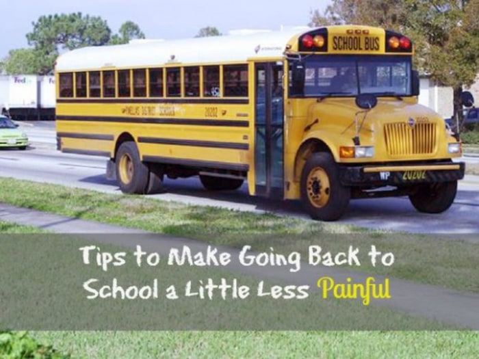 School bus photo with message about making the return to school less painful