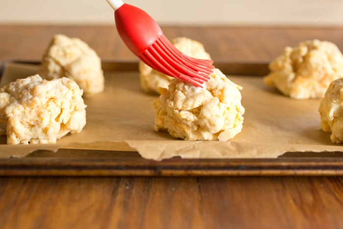 Red Lobster Cheddar Bay Biscuits Copy Cat Recipe (brushing on topping)