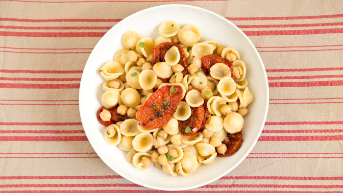 Orecchiette with Herb-Roasted Tomatoes and Chickpeas recipe