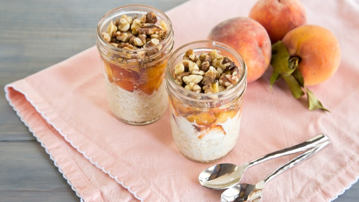 Natalie Morales' overnight oats recipe in a Mason jar