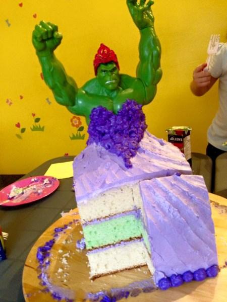 Mom breaks superhero mold by baking Incredible Hulk princess cake