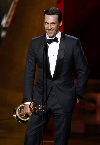 "Image: Jon Hamm accepts the award for Outstanding Lead Actor In A Drama Series for AMC's ""Mad Men"" at the 67th Primetime Emmy Awards in Los Angeles"