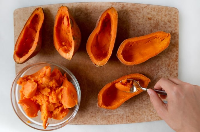Scoop out the center of the sweet potato skins