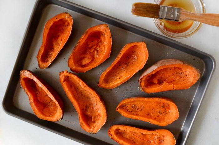 Brush sweet potato skins with bacon drippings