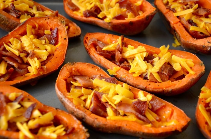 Fill sweet potato skins with cheese and bacon