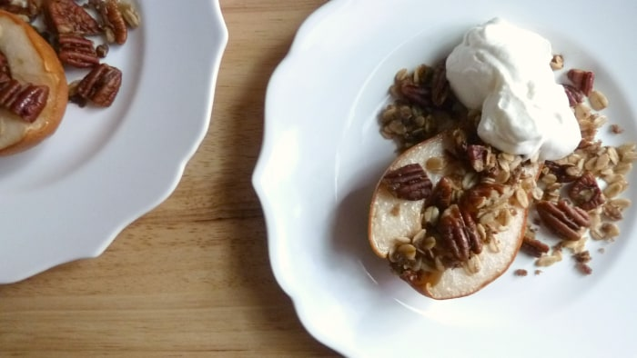 Pear and Pecan Crumble with Vanilla Whipped Cream
