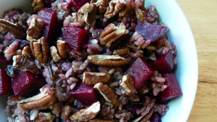 Wild Rice with Roasted Beets and Toasted Pecans recipe