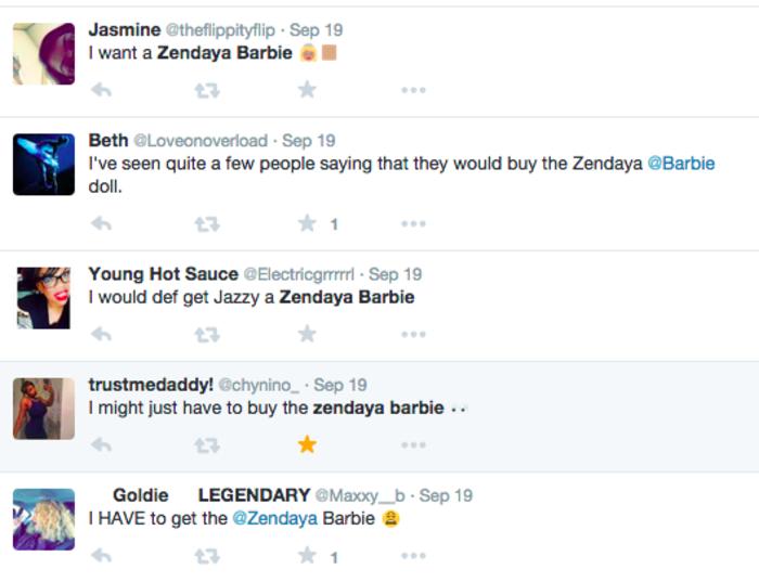 Zendaya fans want their own Zendaya Barbie doll