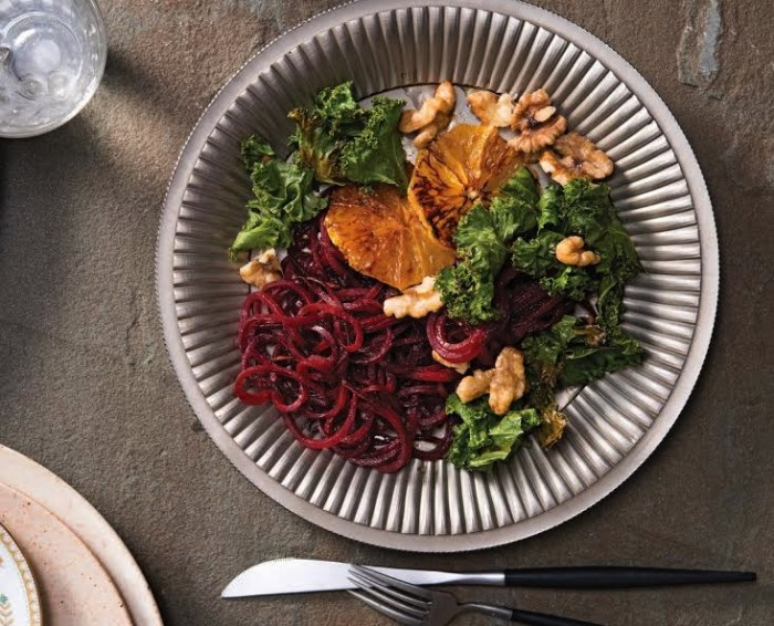 Beet Pasta with Blood Orange, Honey Walnuts and Crispy Kale