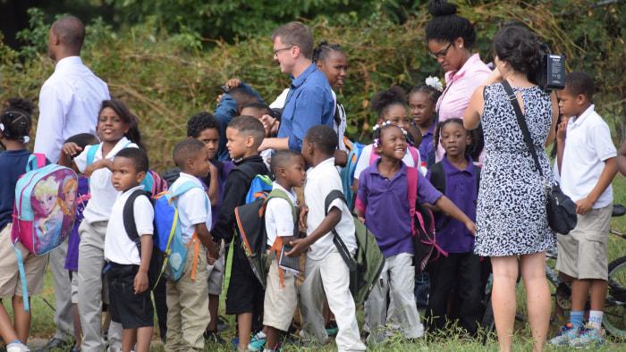 Elementary school students walking