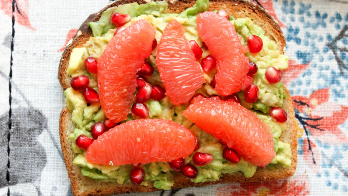 Avocado Toast with Grapefruit and Pomegranate Seeds
