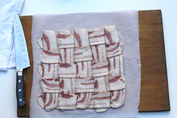 How to make bacon-wrapped turkey: weave bacon until you have a woven square