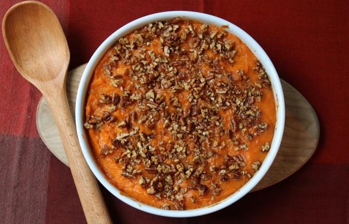 Bourbon-Maple Sweet Potato Casserole with Pecans