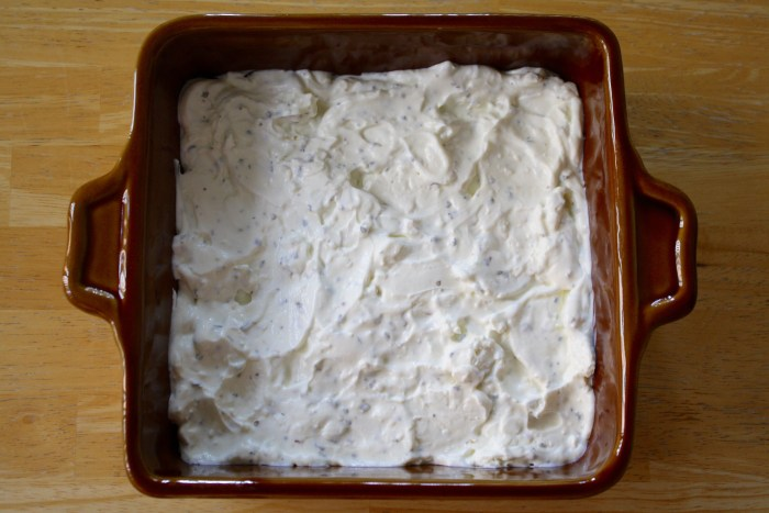 Pizza Dip: start with a base layer of the cream cheese mixture