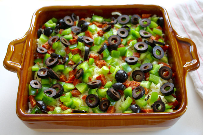 Pizza Dip: layer of sliced olives