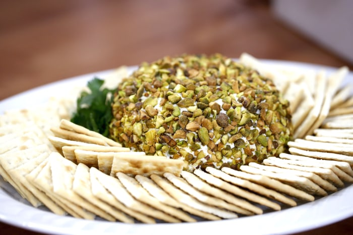 Ryan Scott's Salted Pistachio Crusted Cream Cheese Ball with Saltines