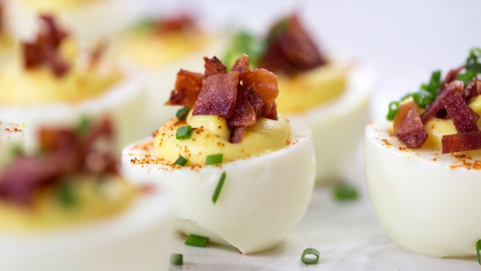 Ryan Scott's recipe for deviled eggs and pistachio-crusted cream cheese balls