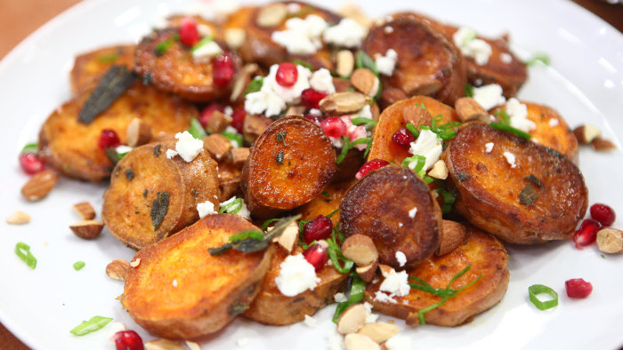 Roasted Sweet Potatoes with Feta, Almonds & Pomegranate