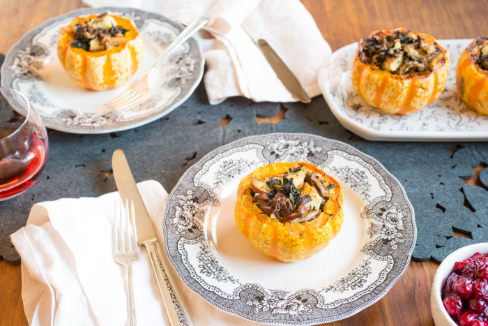 Vegetarian Thanksgiving main dish -- stuffed squash