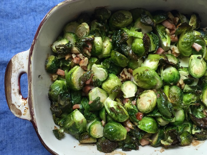 Roasted Brussels Sprouts with Walnuts and Canadian Bacon