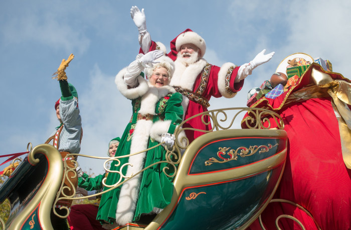 Image result for picture of santa and elves on float