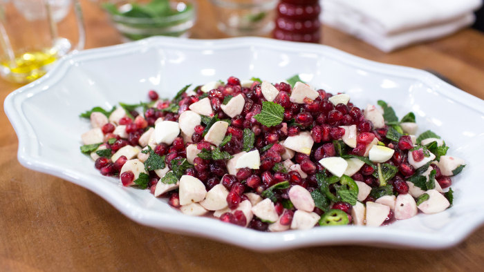 Padma Lakshmi's recipe for mozzarella and pomegranate salad with mint