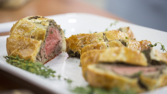 Food Network Chef Nancy Fuller is nakes her Beloved Beef Wellington and root vegetables as a side-dish