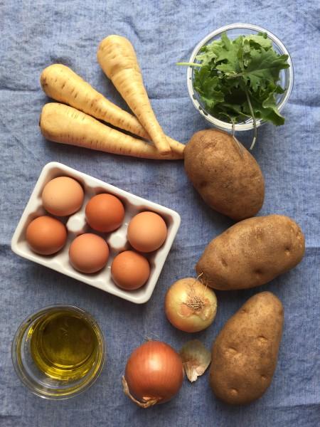 Ingredients for Parsnip and Kale Hanukkah Latkes