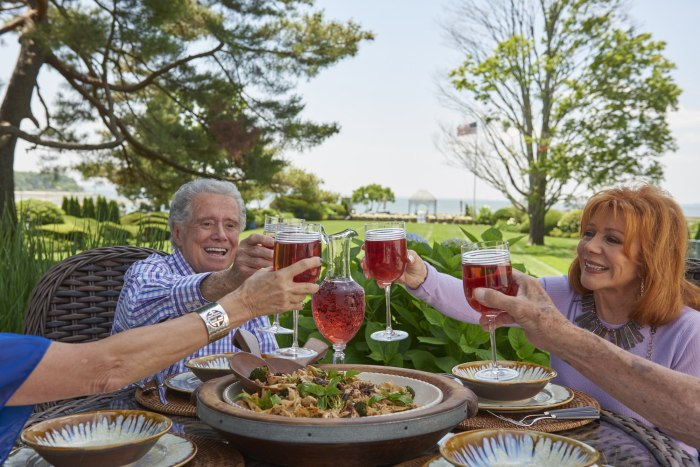 Regis Philbin enjoys his favorite pasta with family and friends.