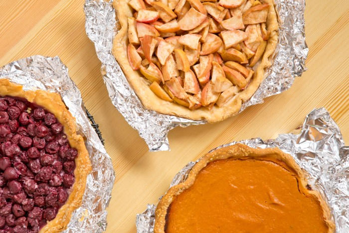 How to Make The Cherpumple step-by-step: Bake the pumpkin pie, apple pie and cherry pie