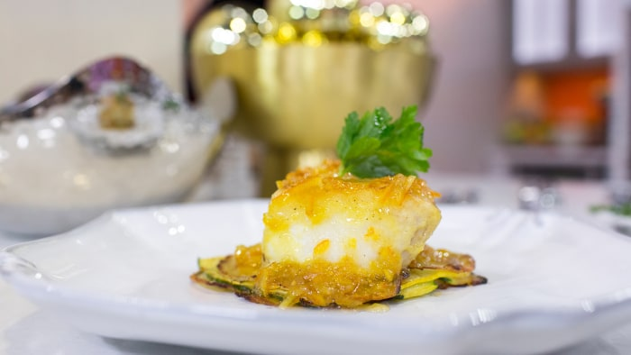 Andy Medina's recipe for Chilean sea bass on a bed of potato-zucchini latkes