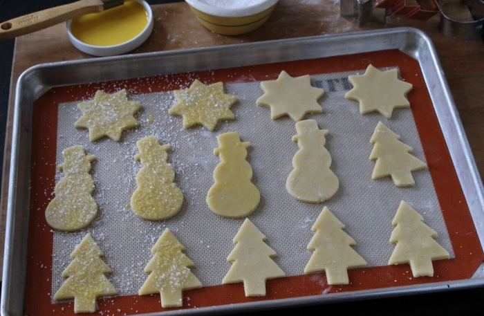 How to Make Sugar Cookies: Transfer the cookies to a baking sheet 1-inch apart
